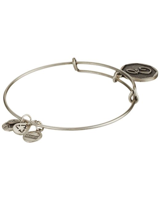 ALEX AND ANI | Metallic Initial E Charm Bangle | Lyst