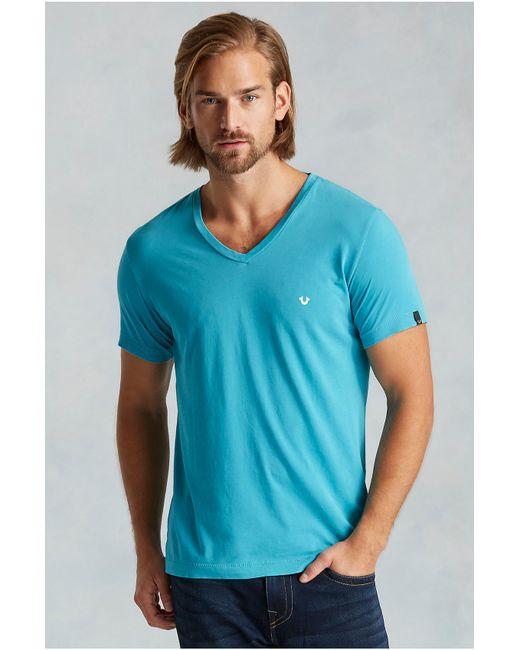 True Religion   Blue Pima Cotton V-neck Mens Tee for Men   Lyst
