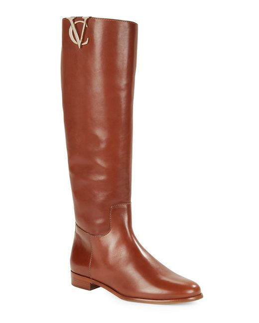 vince camuto signature rena leather boots in brown
