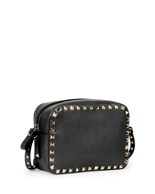 Valentino Rockstud Small Zip-top Camera Bag in Black  Lyst