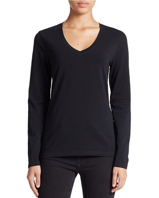 Lord & Taylor | Black Stretch-cotton V-neck Tee | Lyst