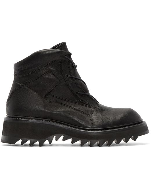 julius black leather hiking boots in black for save