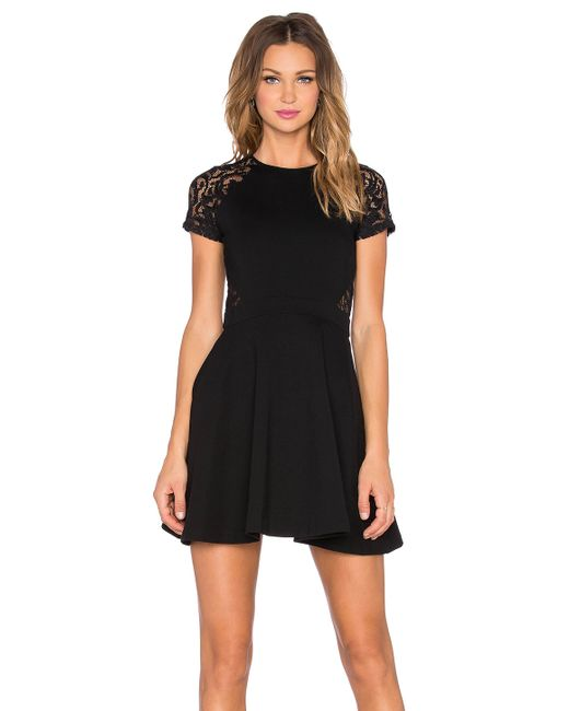 Parker Annabella Crepe And Lace Dress In Black
