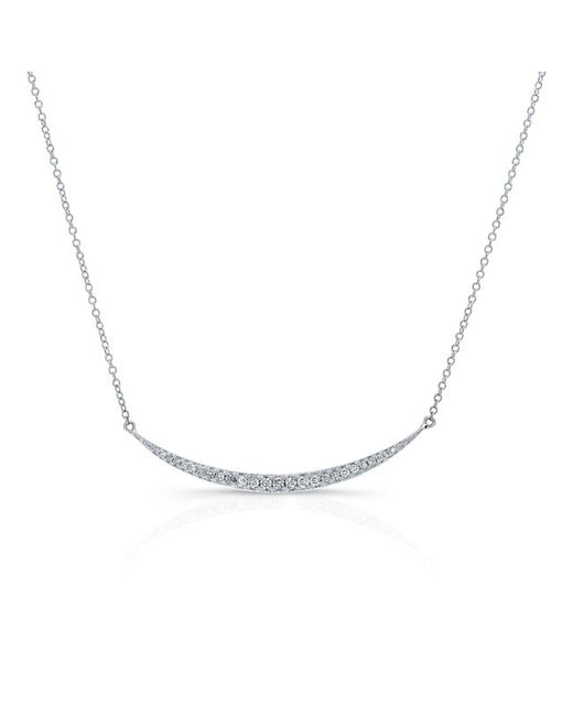 Anne Sisteron | Metallic 14kt White Gold Diamond Mini Lunette Necklace | Lyst