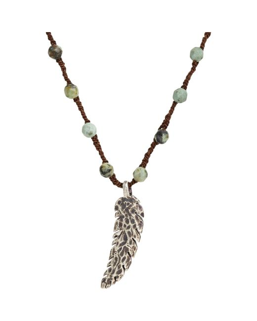 Feathered Soul | Blue Oxidized Silver Feather On Turquoise Bead & Silk Cord for Men | Lyst