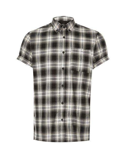 River Island Black Check Short Sleeve Shirt In Black For