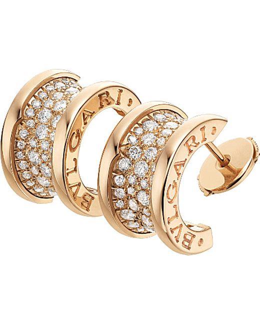 BVLGARI   B.zero1 18ct Pink-gold And Diamond Earrings   Lyst
