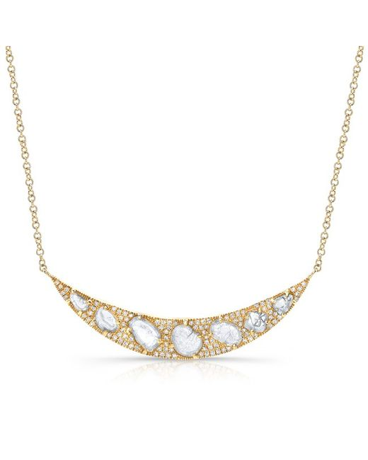 Anne Sisteron | Metallic 14kt Yellow Gold Diamond Slice Crescent Necklace | Lyst