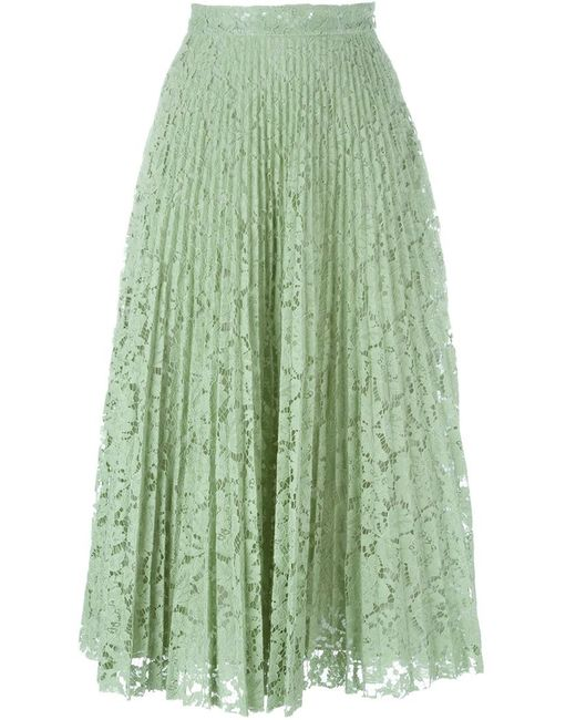 valentino lace pleated skirt in green save 30 lyst