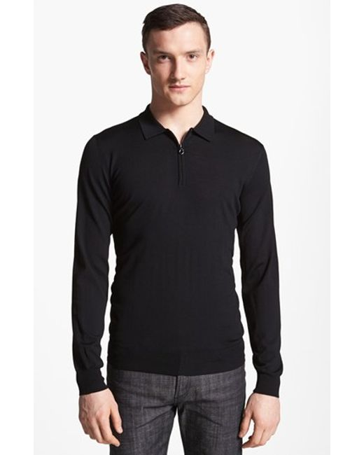 Ferragamo | Black Half Zip Polo Sweater for Men | Lyst