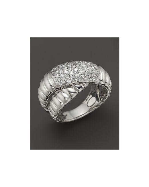 John Hardy | Metallic Bedeg Silver Diamond Pave Crossover Ring | Lyst
