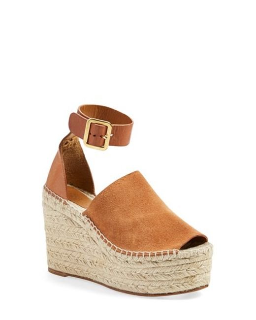 Chlo Suede And Leather Wedge Espadrilles In Brown Save