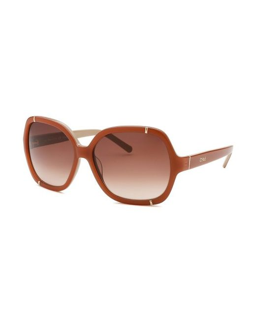 Chloe 79s Gold Frame Sunglasses : Chloe Womens Square Peach Frame Brown Gradient Sunglasses ...