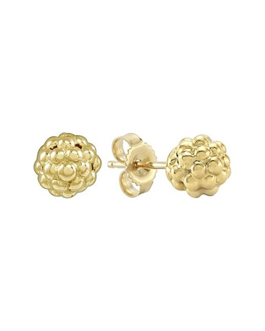 Lagos | Metallic 18k Gold Caviar Bold Button Stud Earrings | Lyst