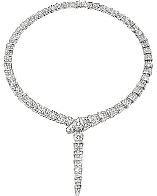 BVLGARI | Serpenti 18kt White-gold And Pavé-diamond Necklace | Lyst