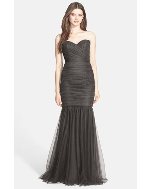 Amsale | Gray Strapless Tulle Mermaid Gown | Lyst