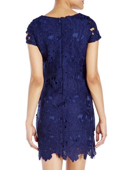 ellen tracy navy floral lace sheath dress in blue navy