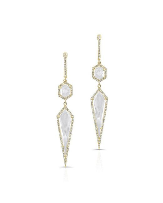 Anne Sisteron | 14kt Yellow Gold White Topaz Diamond Earrings | Lyst