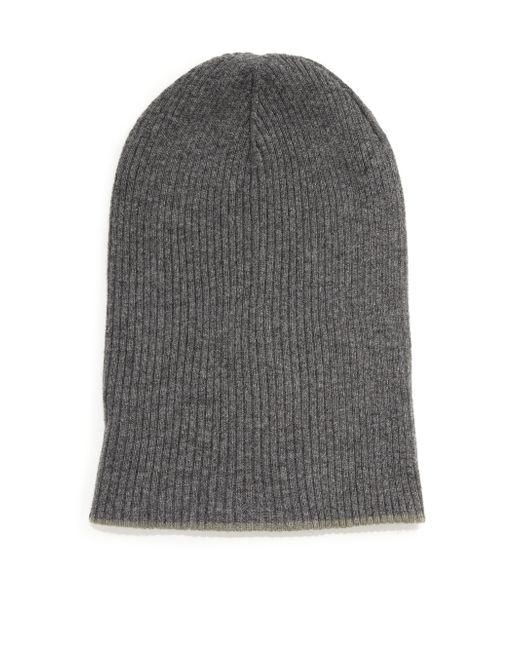 Brunello Cucinelli | Gray Contrast Cuff Cashmere Beanie for Men | Lyst