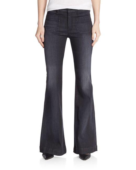 Hudson High-rise Flared Jeans in Black (black bird) - Save ...