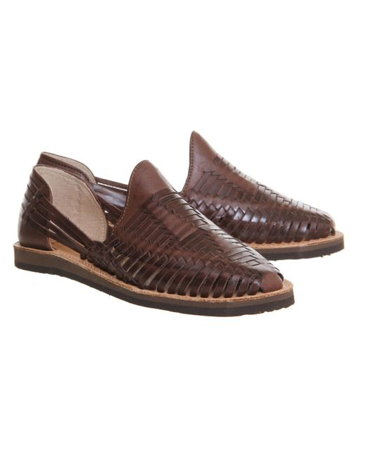 Popular  Brown T Strap Huarache Shoes  Leather Strappy Flat Sandals W