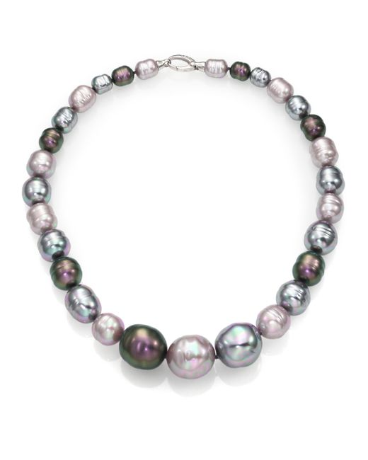 Majorica | 10mm-20mm Multicolor Baroque Pearl & Sterling Silver Graduated Strand Necklace/18 | Lyst