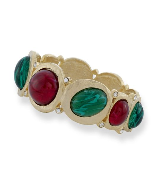 Kenneth Jay Lane | Red Ruby And Emerald Hinged Cabochons | Lyst