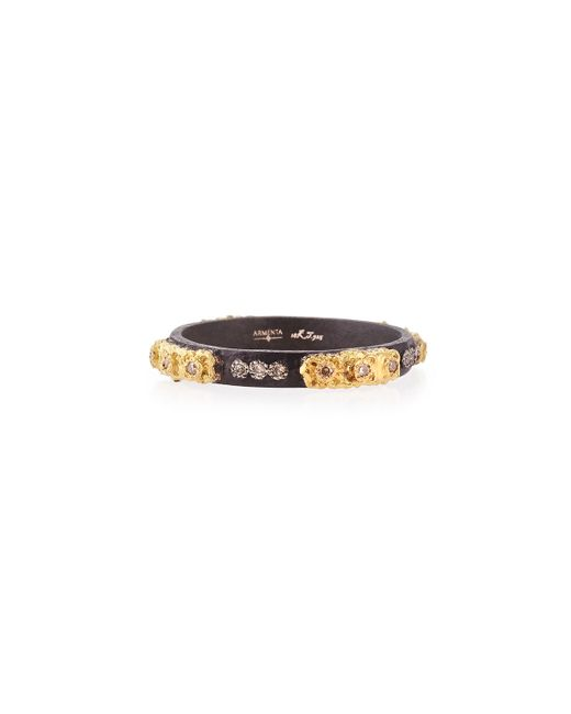 Armenta | Metallic Stackable Ring With Champagne Diamonds | Lyst