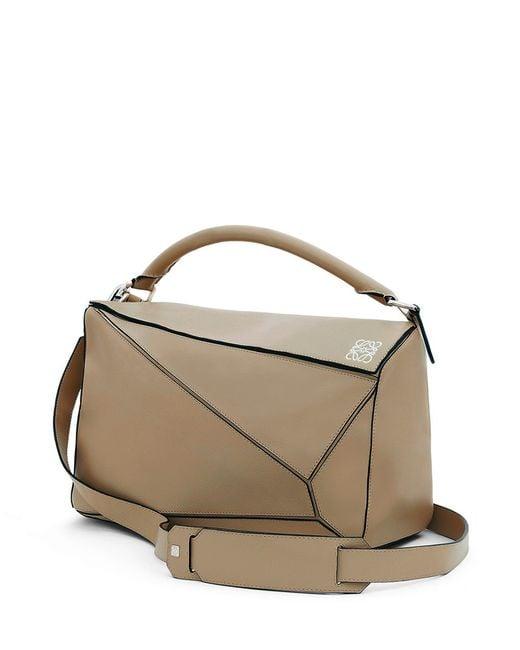 Loewe Puzzle Medium Leather Bag In Beige Lyst