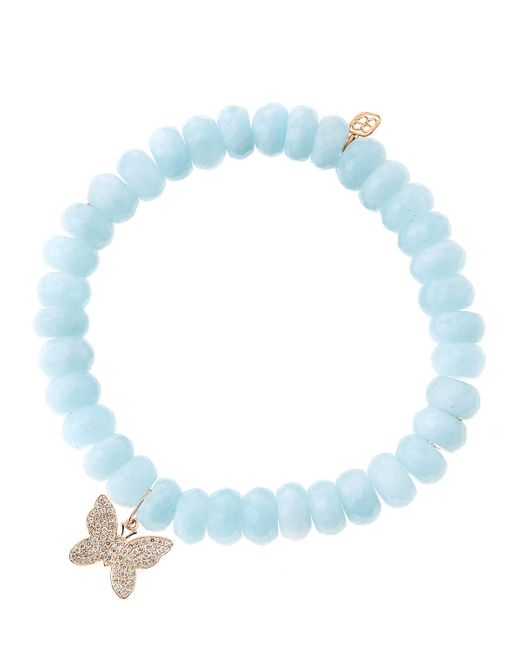 Sydney Evan | Blue Aquamarine Beaded Bracelet With Diamond Butterfly | Lyst