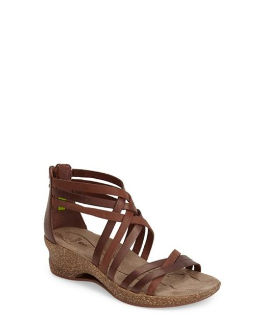 Ahnu | Brown Trolley Leather Wedges | Lyst