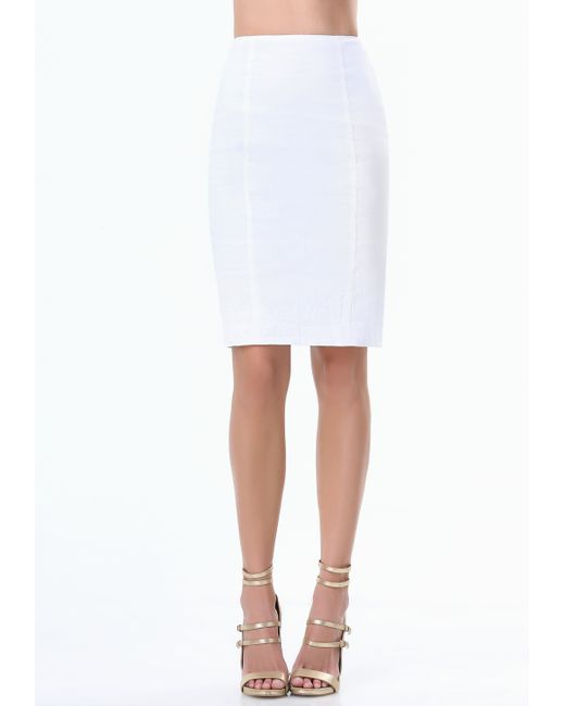 bebe pencil skirt in white bright white lyst