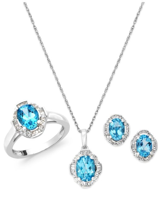 Macy's | Blue Topaz (2-5/8 Ct. T.w.) And Diamond Accent Jewelry Set In Sterling Silver | Lyst
