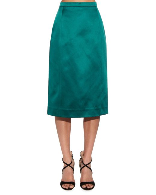 oscar de la renta satin midi skirt in green lyst