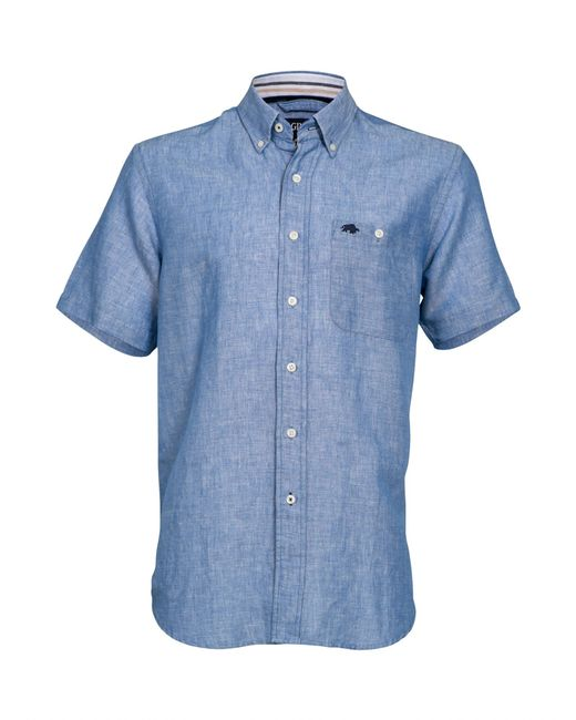 Raging Bull Big And Tall Short Sleeve Linen Shirt In Blue