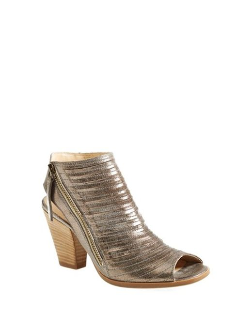 Paul Green Cayanne Leather Peep Toe Sandal In Silver