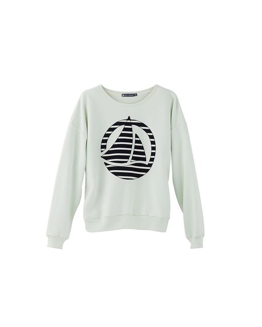 Petit Bateau | Green Women's Plain Brushed Fleece Sweatshirt With Striped Logo Patch | Lyst
