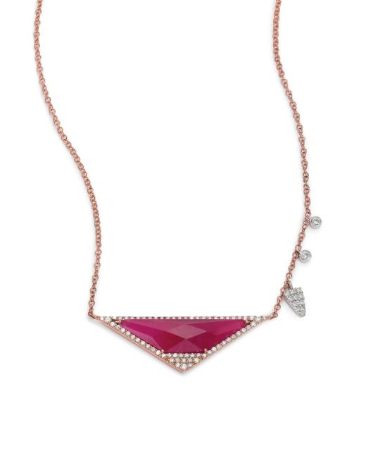 Meira T | Pink Ruby, Diamond & 14k Rose Gold Triangle Necklace | Lyst