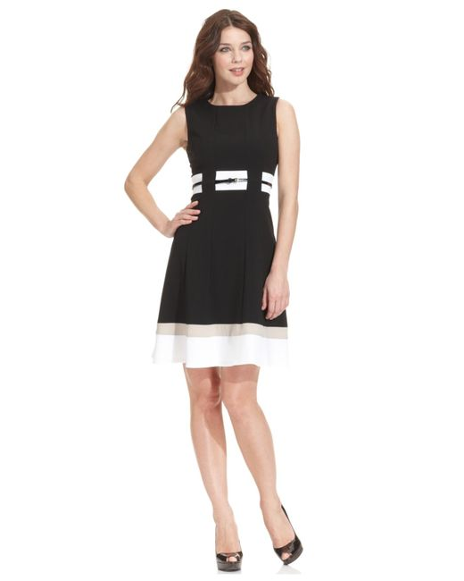 calvin klein colorblocked belted fit flare dress in