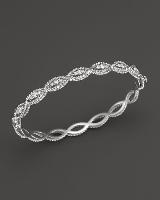 Roberto Coin | 18k White Gold New Barocco Diamond Bangle | Lyst
