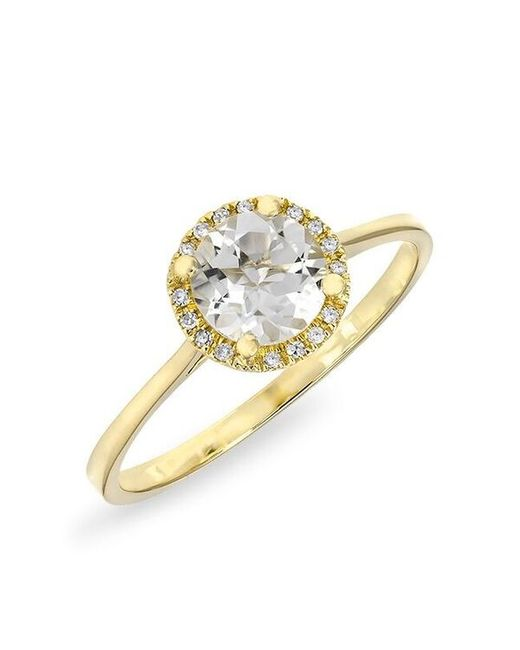 Anne Sisteron - Metallic 14kt Yellow Gold White Topaz Solitaire Diamond Halo Ring - Lyst