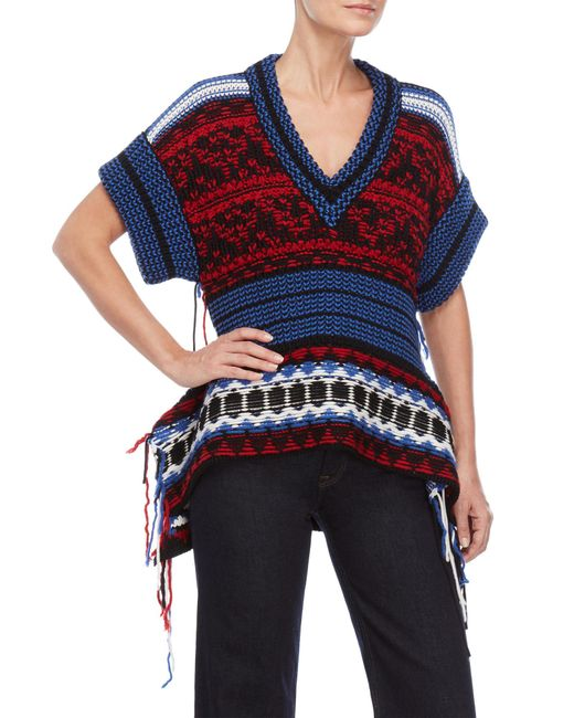 Sonia Rykiel - Blue Pattern V-neck Stringy Top - Lyst