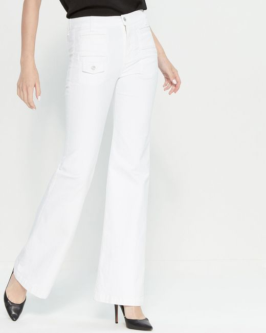7 For All Mankind White Flare Leg Jeans