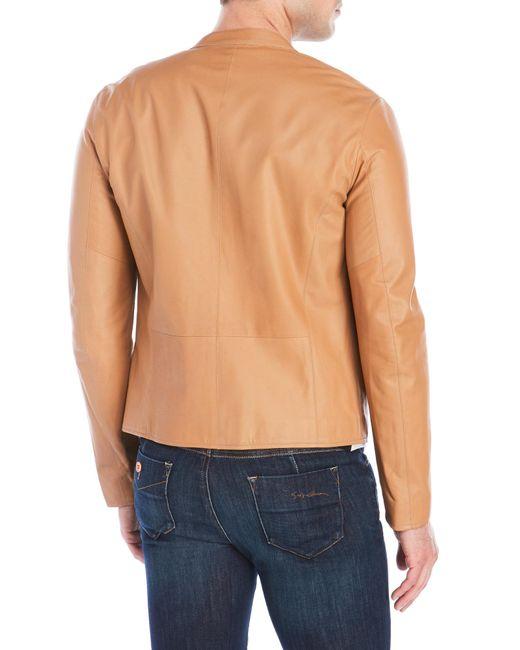 Armani Leather Jacket In Orange For Men