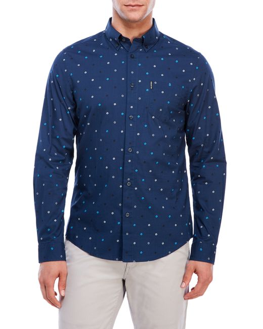 Ben sherman shirt in blue for men save 32 lyst for Century 21 dress shirts