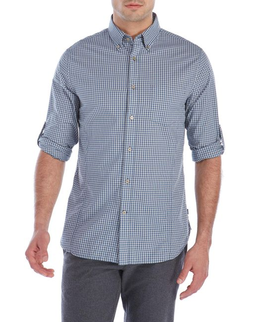 John Varvatos Check Button Down Sport Shirt In Blue For