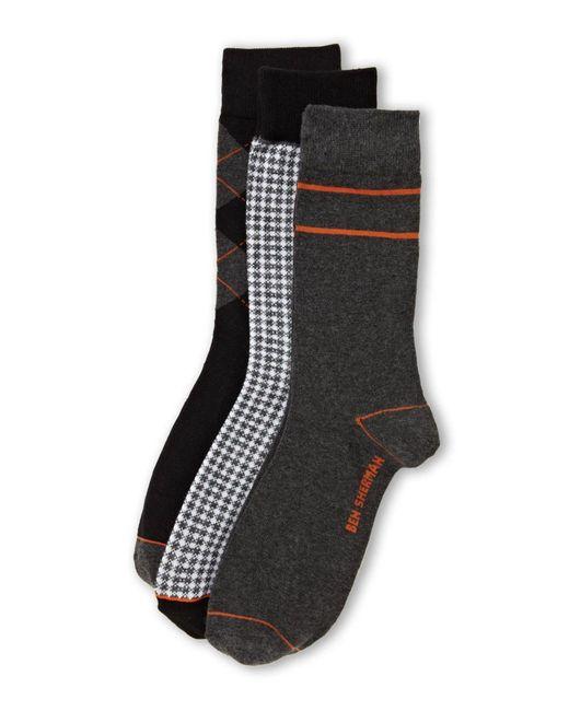 Ben Sherman | Black 3-Pack Assorted Pattern Socks for Men | Lyst