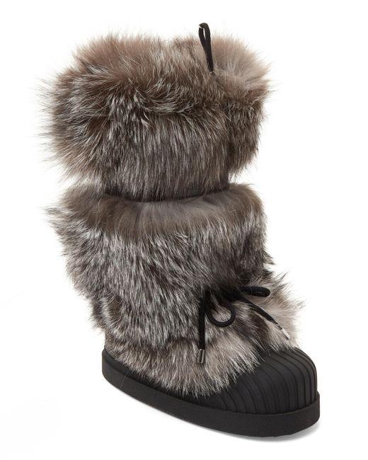 Moncler - Gray Fox Fur Moon Boots - Lyst