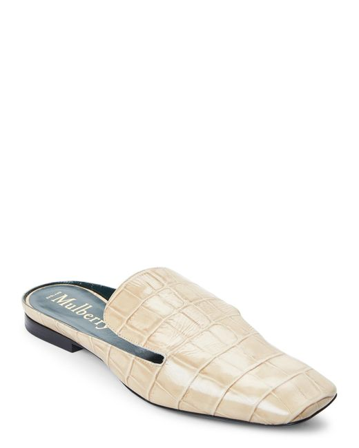 Mulberry - White Ivory Croc Embossed Loafer Mules - Lyst
