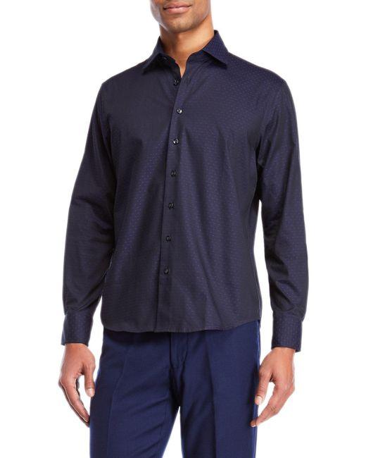 Tocco Toscano - Purple Mini Dot Jacquard Sport Shirt for Men - Lyst
